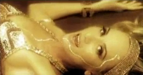 A scene from very first music video– yes…I was blond… and yes– I can belly dance:)