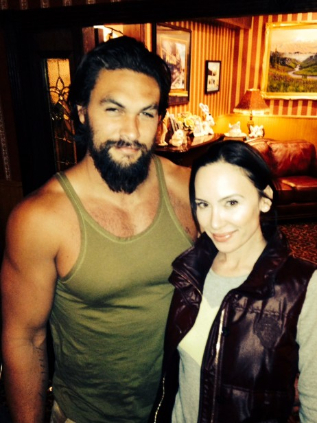 "Yulia Klass with Jason Momoa on the set of our film ""Sugar Mountain"""